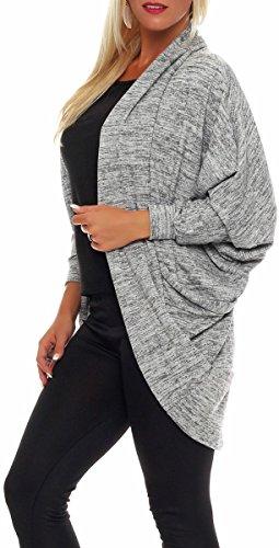 malito corto Cardigan Chaqueta Envolver Bolero Capote Rebeca Capucha Oversize Suéter Casual Basic 5031 Mujer Talla Única gris claro