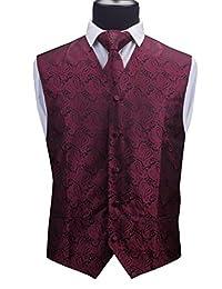 GUSLESON 3pc Mens Paisley Vest Necktie Pocket Square Set Waistcoat for Suit Tuxedo