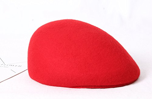 Queenestar Australian Wool Beret Hat Cap For Women Plain Winter Warm Beret Caps (Red) by Queenestar (Image #7)