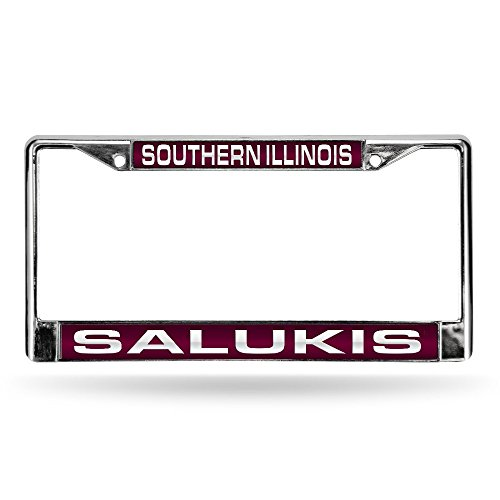 Rico Industries NCAA Southern Illinois Salukis Laser Cut Inlaid Standard License Plate Frame, Chrome, 6