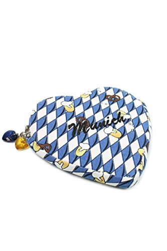 Belli® Trachtentasche Herztasche Mei Wiesn´Dascherl Dirndl Tasche Farbauswahl (Blau weiß)