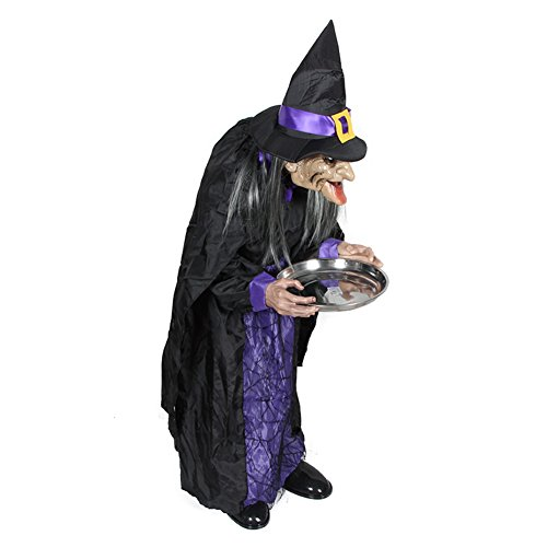 [Bar decorative props Halloween Party/Witch servant induction luminous clothing-A] (Adult Witch Mask With Hat And Hair)