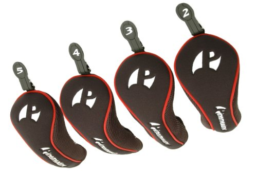 Pinemeadow 3-PW Hybrid Headcovers (Red/Black), Outdoor Stuffs