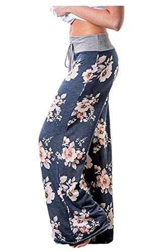 Aifer Women's Pajama Comfy Chic Floral Print Lounge Drawstring Palazzo Long Wide Leg Pants by Aifer (Image #1)