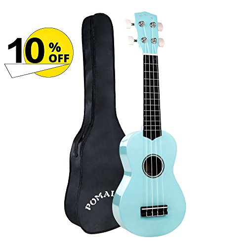 POMAIKAI Soprano Ukulele 21 Inch with Gig Bag for kids Students and Beginners (Light Blue)