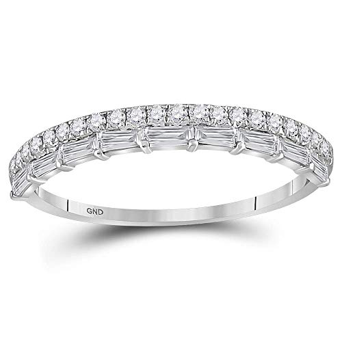 Dazzlingrock Collection 10kt White Gold Womens Round Baguette Diamond Stackable Band Ring 3/8 Cttw