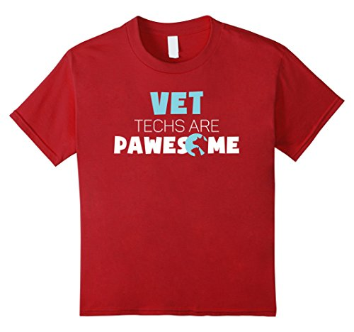 Kids Vet Technicians Are Pawesome Funny Tee 12 Cranberry (Funny 12 Tech Halloween Costume Ideas)