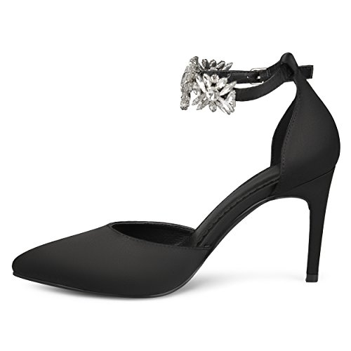 Journee Collection Womens Dorsay Pointed Toe Rhinestone Ankle Strap Stiletto Heels Black KYG6I