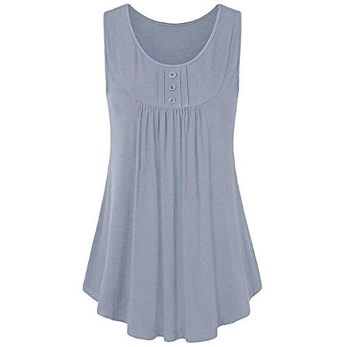 Classic Pleat Collection - iTLOTL Womens Summer Button Sleeveless Scoop Neck Shirts Pleats Solid Tunic Tank Tops(US:12/CN:XL, Gray)