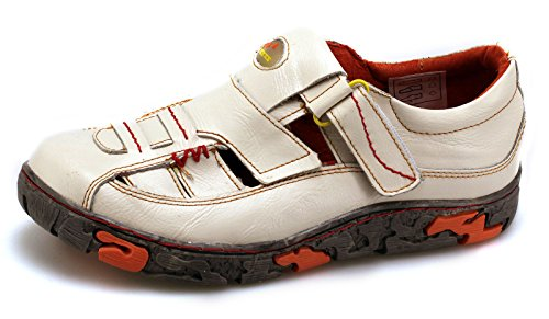 TMA Damen Freizeit Schuhe Echtleder Sandalen 7096 Weiß/Beige