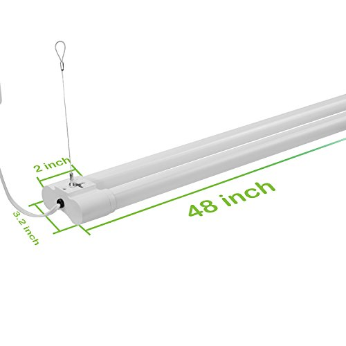 Hykolity 4FT 36W LED Shop Light with cord, 3600lm Hanging or FlushMount Garage Utility Light, 5000K Overhead Workbench Light, Light Weight, Shatter Proof 64w Fluorescent Fixture Replacement- 4 Pack by hykolity (Image #5)