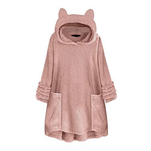 sheart 9 Women Sweatshirt Plus Size Cute Cat Ear Long Sleeve Hoodie Fleece Knee Lenght Top Sweater Blouse with Pocket Pink