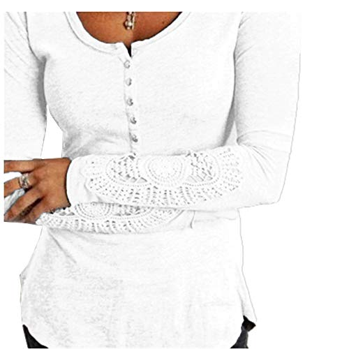 (NJDF-women Long Sleeve Crochet Lace Blouse Women Casual Floral Embroidery Shirt Ladies Tops Tee White L)