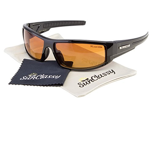 High Definition Driving Sports Clear Vision Gold Lens Sunglasses By Sunclassy – Impact Resistance Lenses FDA Approved 100% Block Of UVA, UVB & UVC Rays Comfortable Durable (Black, - Glasses Bands Ray Eye