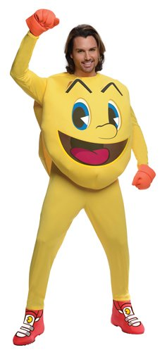 Pac Man Characters Costumes (Rubie's Costume Deluxe Pac-man Adult Jumpsuit, Yellow, Large)