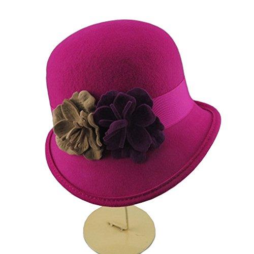 Vintage Wool Cloche Hat Women's Basin Hat Bowler Hat with Felt Flowers (Fuschia)