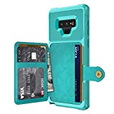 Galaxy Note 9 Case, Sumsung Note 9 Wallet Flip Leather Kickstand Fit Magnetic Wireless Car Charger Mount Slim Durable Shockproof Protective Case Cover with Card Holder (Turquoise)