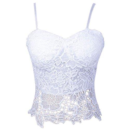 Mokingtop Fashion Lady Tank Top Lace Blouse Sexy Party Evening Sleeveless Vest (White)