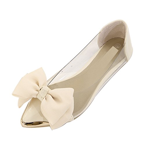 Women Ballet Shoe Bow Pointed Tote Comfort Flat Shoes Beige Asia Size 39