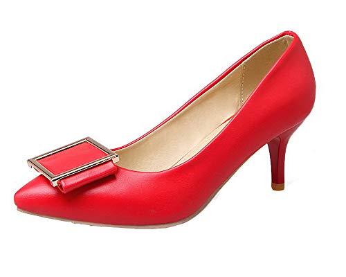 Medio Tirare GMMDB007133 Puro Ballet AgooLar Tacco Flats Luccichio Rosso Donna q7IFPI