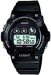 Casio W-214HC-1AVCF Mens Black Chronograph Watch
