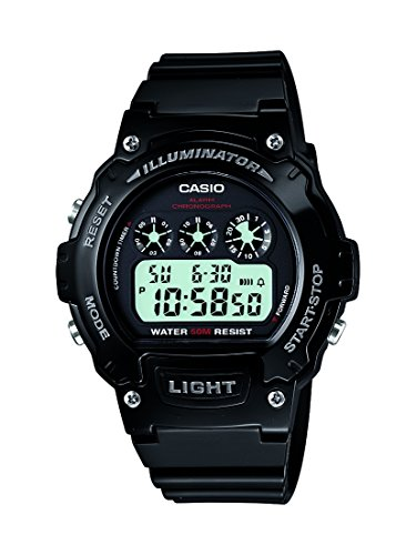 Amazon.com: Casio W-214HC-1AVCF Mens Black Chronograph Watch: Classic: Watches
