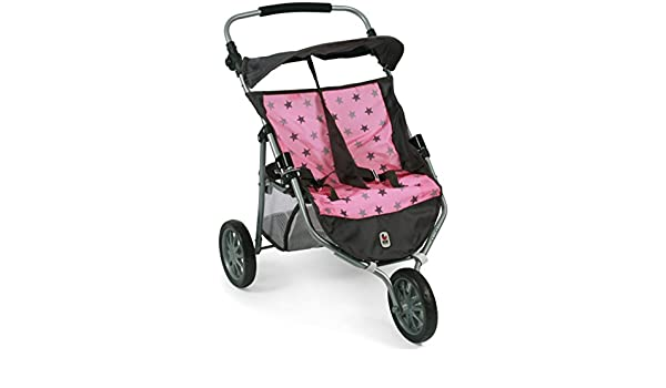 Amazon.com: Bayer Chic 2000 697 83 Jogger, Twin Dolls Pram, Stars Grey: Toys & Games