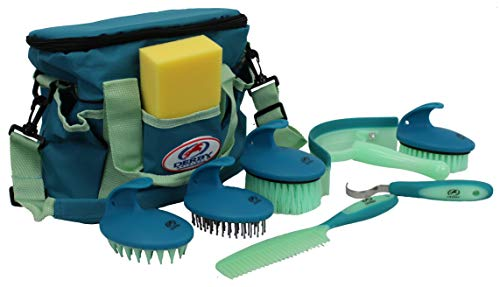 Derby Originals 9Piece Horse Grooming Set with Matching Nylon Carry Bag - Available in 8 Fun Colors, Green & Mint