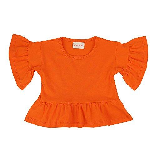 Wennikids Little Girls' Double Ruffle Solid Tank Top T-Shirt Short Sleeve Medium Orange 01