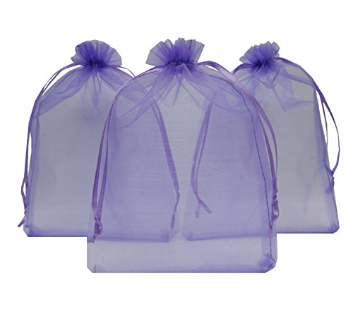 Ankirol 50pcs Large Sheer Organza Favor Bags 6.6x9'' Jewelry Candy Gift Bags Mini Bottle Wine Bags Samples Display Drawstring Pouches (light (Light Peach Tray)