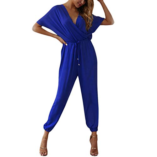 - Xinantime Women's Elegant Jumpsuit High Waist V-Neck Overall Short Sleeve Wide Leg Romper Blue