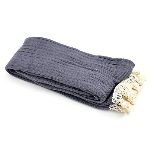 Vanker 1 Pair Knee Thigh High Stockings Winter Leg Warm Cotton Crochet Lace Women Light Grey
