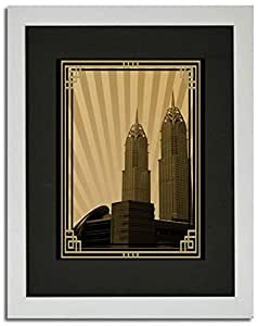 Al Kazim Towers Metro - Sepia With Gold Border No Text F02-nm (a3) - Framed