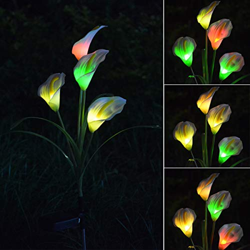 Chasgo Calla Lily Flower Solar Garden Lights, Multi-Color Changing Solar Flower Decorative Garden Stakes Lights Outdoor Fairy Flower for Garden, Yard Art, Grave Cemetery Decoration, Pathway Lights
