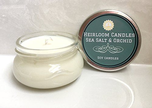 - Sea Salt & Orchid Scented Soy Candle - Vegan - Handmade Glass, 6oz