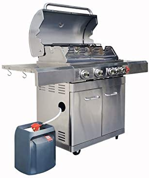 GREADEN BBQ Grill Barbecue à gaz INOX Phénix aux Normes allemandes - 4 brûleurs+1 feu latéral et thermomètre, 17.5kw, 1 Grille + 1 plancha Inclus + 1 Adaptateur Offert