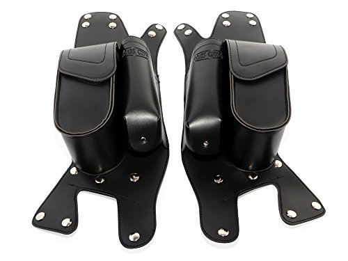 Senkauto Leather Left Right Side Saddlebag Guard Bag with Water Drink Bottle Holder for 1983-2017 Harley Electra Street Tri Glide Touring (Harley Leather Bags)