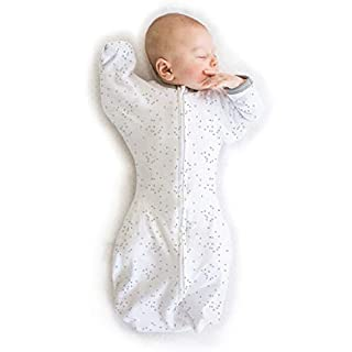 Amazing Baby Transitional Swaddle Sack with Arms Up Half-Length Sleeves and Mitten Cuffs, Confetti, Sterling, Small, 0-3 Months (Parents' Picks Award Winner)