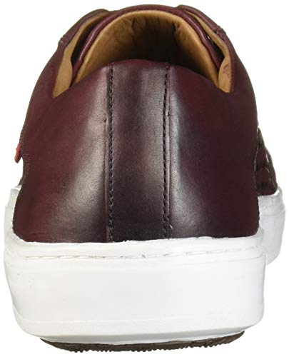 MARC JOSEPH NEW YORK Men's Leather Made in Brazil Luxury Lace-up Detail Fashion Sneaker, Wine Brushed Nappa/Weave, 9 M US