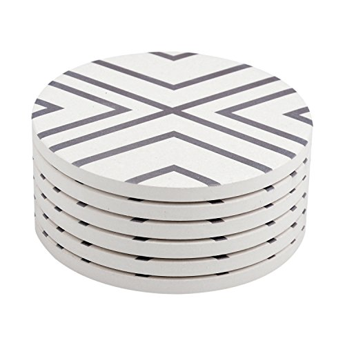 Seamersey Coasters for Drinks Absorbent Geometric Round Natural Ceramic Thirsty Stone Coasters - Set of 6(White)