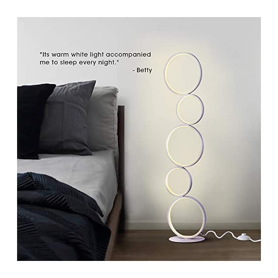 """Hillloong Modern Ring Style LED Floor Lamp Office Lamp Beautiful Decoration Piece for Your Home, Hotel and Office Use. Three Brightness Levels Dimmable with Touch Screen 1600 Lumens 3000K Warm White - 💡Beautiful Decoration Piece for your home, shop,office and hotel! Bring the light to your side! 💡This modern floor lamp is seamlessly integrated with both comtemporary and traditional room style. Standing up about 39"""" high and 7.9"""" in diameter of base, that small profile makes it fit in tight space such as coners, bookshelf or equipped with a pair to symmetrically decorate TV cabinets or sofa. 💡Brightness three levels, ON & OFF switch in one button! - living-room-decor, living-room, floor-lamps - 41OPyWnFKaL. SS570  -"""