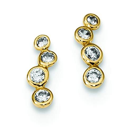 14K Yellow Gold Madi K Childrens 3.5 MM 4-CZ Bezel Set Post Stud Earrings