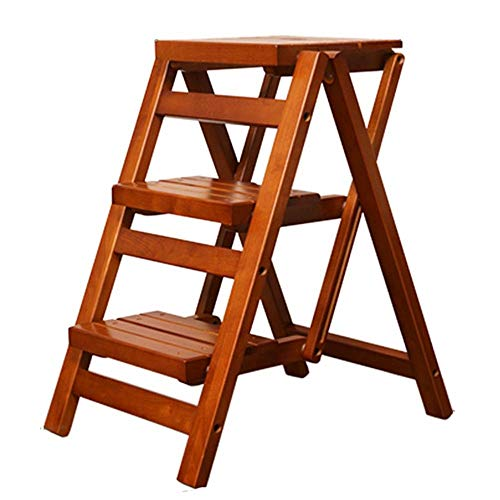FH Solid Wood 3 Step Stool, Multi-Function Folding Ladder, Non-Slip Padded Pedal Home Japanese Wooden Ladder Chair, Storage Rack, Flower Stand, Shoe Bench, 2 Colors (Color : Honey Color)