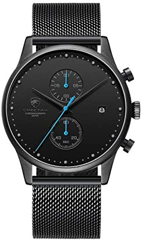 Men's Watch Fashion 10mm Thin Waterproof Watches with Chronograph Mesh Stainless Steel Wristwatch Analog Date