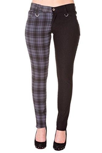 Womens Grey Banned Half Tartan Plaid Check Emo Punk Split Leg Skinny Trousers - - Banned Jeans