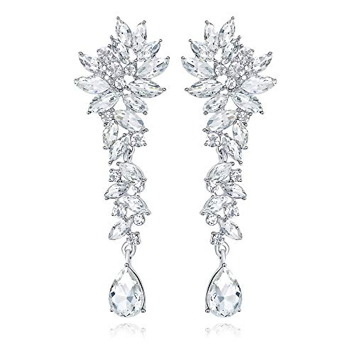 mecresh Marquise Crystal Bridal Chandelier Dangle Drop Earrings Ladies Gifts in Silver/Gold Tone
