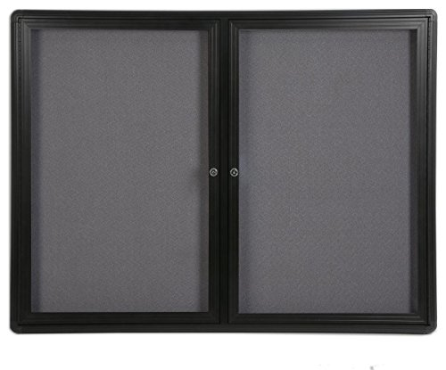 (Displays2go 4 x 3 Feet Enclosed Bulletin Board with 2 Swing-Open Locking Doors, 48 x 36 Inches Gray Fabric Notice Board, Aluminum/Black Frame)