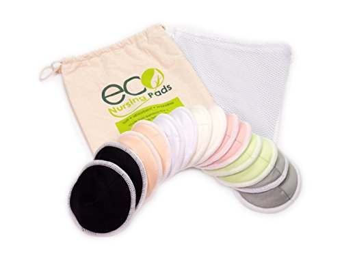 (Contoured Washable Reusable Bamboo Nursing Pads | Organic Bamboo Breastfeeding Pads | Medium (10cm) | 14 Pack with 2 Bonus Pouches & Free E-Book by EcoNursingPads | Perfect Baby Shower Gift)