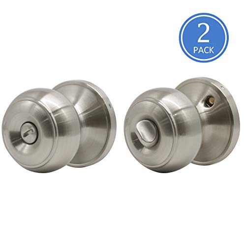 2 Pack Privacy Door Knobs Locking with Turn-Thumb,Keyless Brushed Nickel Door Locks Handles for Bath/Bedroom, Removable Plate for Doors with Round Plate