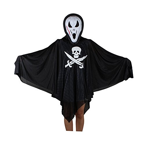 Priest Costume Australia (Spring fever Child Kids Halloween Hooded Ghost Cloak skull Coat Robe Medieval Cape Shawl Costume Centipede Mask One Size)